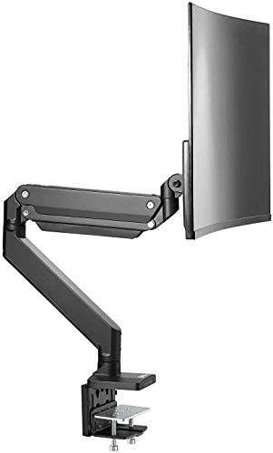 AVLT-Power Single 33 lbs Monitor Desk Stand - Mount Ultrawide Computer Monitor on Full Motion Adjustable Arm - Military Grade - Organize Work Surface with Ergonomic Viewing Angle VESA Monitor Mount