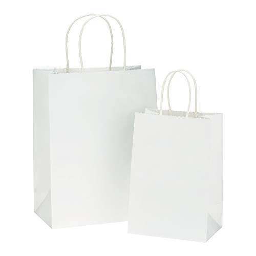 BagDream Kraft Paper Bags 5x3x8& 8x4.25x10, 50 Pcs Each, White Gift Bags, Kraft Bags, Party Bags, Paper Shopping Bags, Craft Bags, 100% Recyclable Paper Gfit Bags with Handles