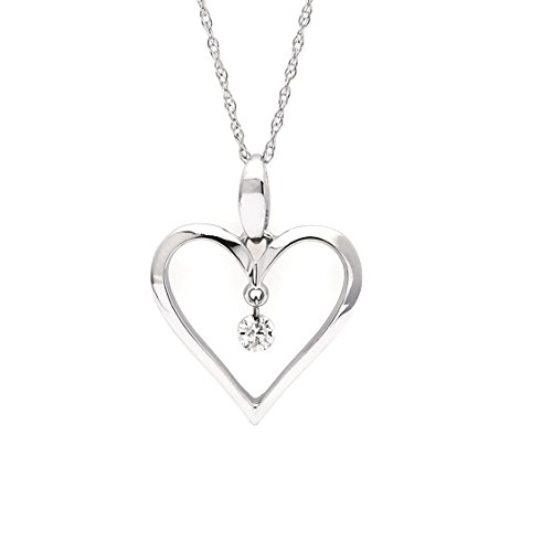 Brilliance in Motion 14K White Gold Floating Diamond Heart Pendant Necklace, 18