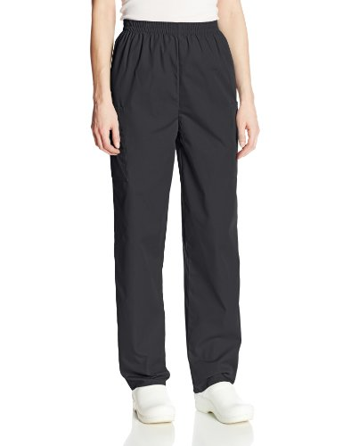 Cherokee Women's Workwear Elastic Waist Cargo Scrubs Pant, Black, Medium