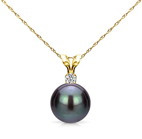 Basics Collection Team (14K Yellow Gold 1/100 Ct Diamond & Black-Grey 7-7.5mm Freshwater Cultured Pearl Pendant Necklace (G-H, SI1-SI2), 18