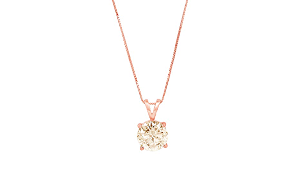 1.50 ct Round Brilliant Cut Ideal VVS1 White Sapphire Pendant Necklace Bridal Anniversary 16 chain 14k Pink Solid Rose Gold