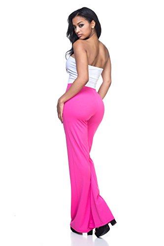 Women's Junior Plus J2 Love High Waist Bell Bottom Flare Pants, 3X, Fuchsia by Cemi Ceri (Image #3)