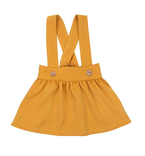 Specialcal Baby Girls Velvet Suspender Skirt Infant Toddler Ruffled Casual Strap Sundress Summer Outfit Clothes (2-3T, Yellow) ()