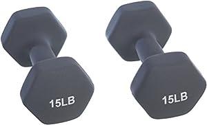 AmazonBasics Neoprene Dumbbells 15-Pound, Set of 2, Dark Grey