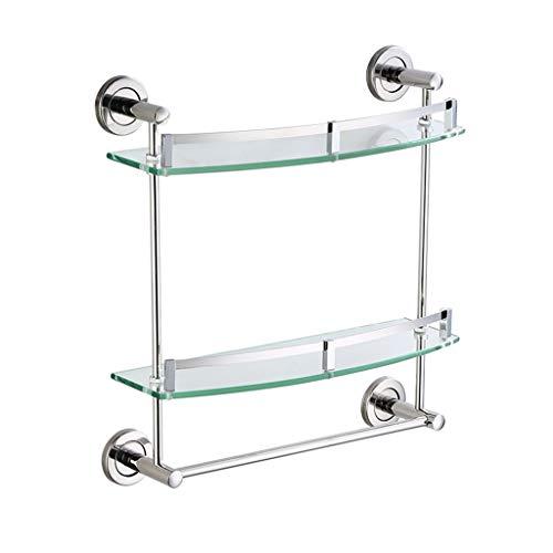 STAR-SHELF Double Glass Shelf Bathroom Storage Wall Mount with Towel Bar, Stainless Steel Shower Accessories, 7mm Glass (Size : 50cm)