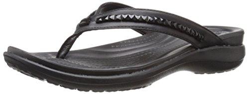 Crocs Women's Capri V Beaded W Flip Flop, Black/Black, 5 M US
