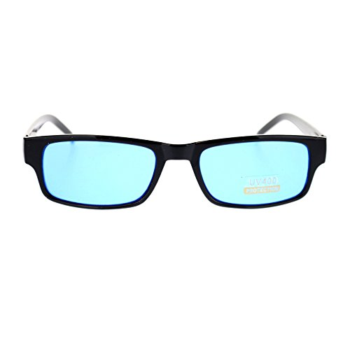Mens Small Face Snug Fit Color Lens Rectangular Plastic Frame Sunglasses - Blue Lens Sunglasses