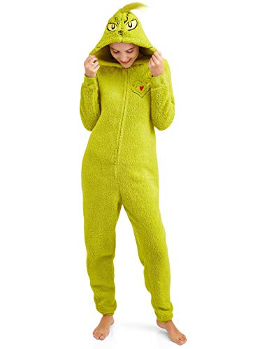 Grinch Women's Licensed Sleepwear Adult Costume Union Suit Pajama (XS-3X) L