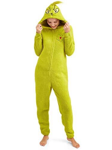 Grinch Women's Licensed Sleepwear Adult Costume Union Suit Pajama (XS-3X) XL