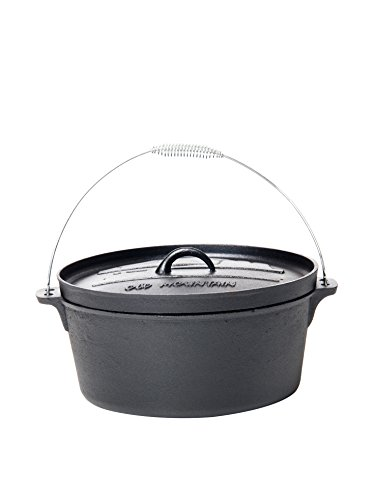 - Old Mountain 10177 Pre Seasoned 8-Quart Dutch Oven with Flanged Lid, No Feet