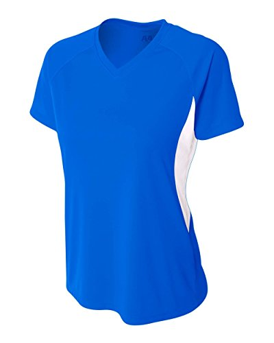 Royal Blue Women's Large Performance Color Block V-Neck Shirt/Uniform ()