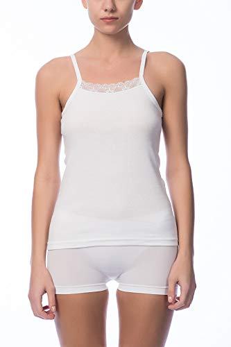 NBB Womens Sexy Fancy Basic 100 Percent Cotton Tank Top Camisole Lingerie With Stretch White Large
