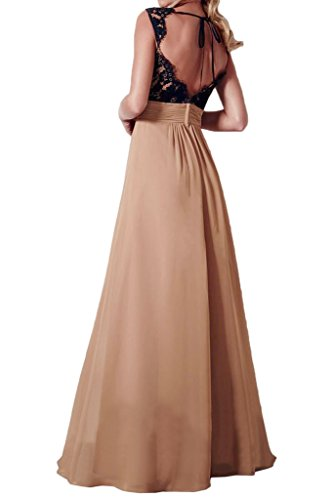 victory bridal elegant champagner chiffon schwarz spitze breittraeger abendkleider ballkleider. Black Bedroom Furniture Sets. Home Design Ideas