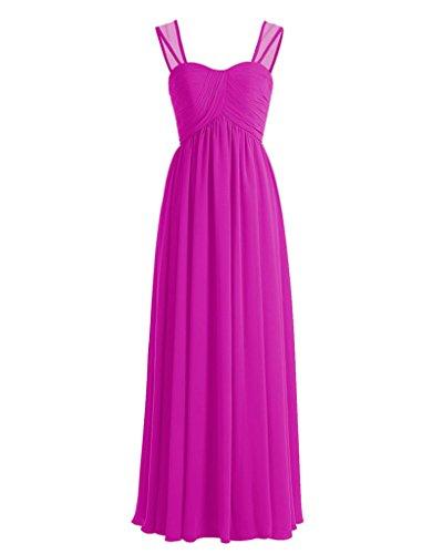 Maggie Sottero Prom Gowns - ASBridal Women's Long Chiffon Pleated Sweetheart Bridesmaid Dress Aline Prom Dress Party Dress, Fuchsia, US24W