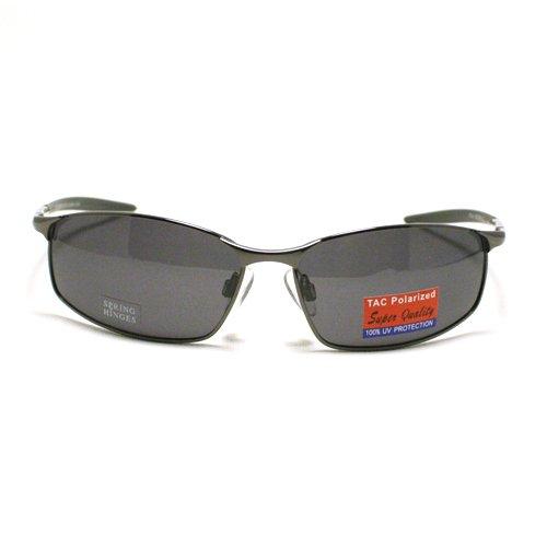 Gunmetal Classic Men's Polarized Narrow Rectangular Aviator - Aviator Narrow Sunglasses