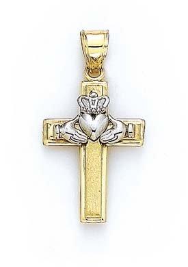 Or bicolore 14Ct Claddagh Croix Pendentif