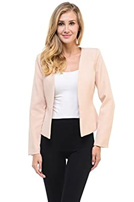Auliné Collection Women's Candy Color Tailored Fit Open Suit Jacket Blazer