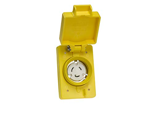 Woodhead 67W48 Watertite Wet Location Locking Blade Receptacle - Yellow, 2Pole/3Wire Single Flip Lid Receptacle with NEMA L6-20 Configuration, 20A/250V by Woodhead (Image #1)