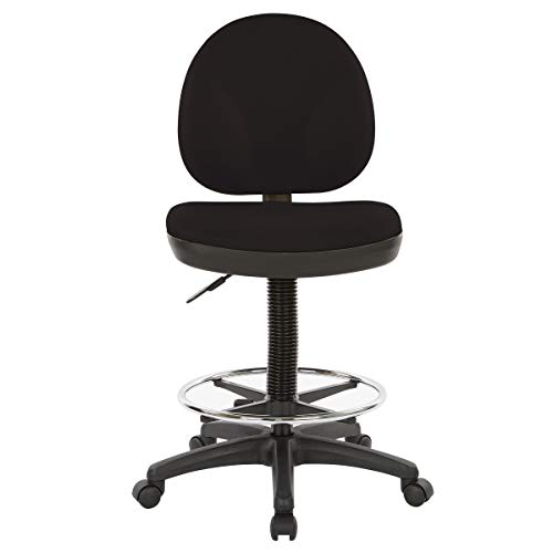 Office Star Products WorkSmart Upholstered Drafting Chair Dillon Black