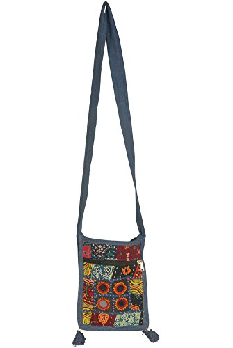 Small Messenger Crossbody Satchel Shoulder Bag Floral Purse Colorful Organizer Cellphone Ipad Hobo (Mirror Patchwork) by Tribe Azure Fair Trade (Image #3)