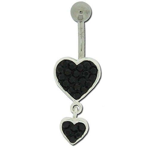 Piercing Nombril Argent 925/1000 Pendentif Coeur Cristaux Noirs