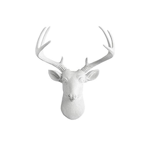 Head Large Deer - Wall Charmers Mini White Faux Deer Head - 14 inch Faux Taxidermy Animal Head Wall Decor - Handmade Farmhouse Decor - Deer Antlers Gallery Wall Decor