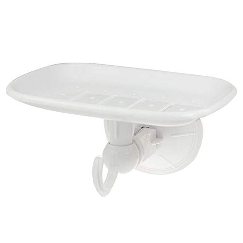 Agordo White Hard Plastic Soap Tray Dish Holder w Hook Suction Cup Z8X1 Devonshire Bathroom Soap Dish