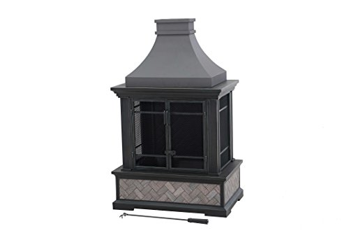 Outdoor Patio Steel Pedestal Fireplace Chiminea w/ Tiled Exterior - Large Outdoor Fireplace