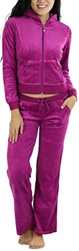 ToBeInStyle Women's Regular Drawstring Pants w/Hoodie Sweatshirt New Velour Set - Medium/Size: 4-6 - Magenta