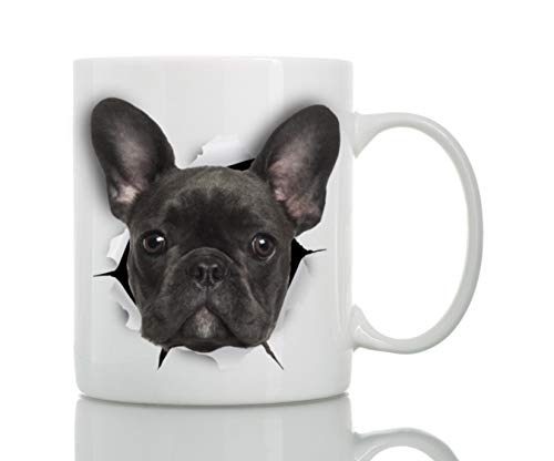 (Black French Bulldog Mug - Ceramic Funny Coffee Mug - Perfect French Bulldog Gifts - Cute Novelty Coffee Mug Present - Great Birthday or Christmas Surprise for Friend or Coworker,)
