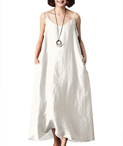 YESNO Women Casual Long Maxi Slip Dress Loose Summer Sundress 'A' Skirt w/Pockets YP6