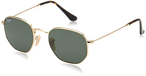 RAY-BAN RB3548N Hexagonal Flat Lenses Sunglasses Gold/Green 51 Mm
