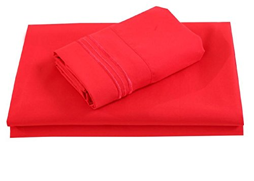 All American Collection New Soft, Bamboo Microfiber Embroidered Three Line Sheet Set (King, Red)