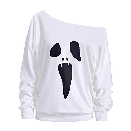 Women Tops !JSPOYOU Halloween Long Sleeve Ghost Print