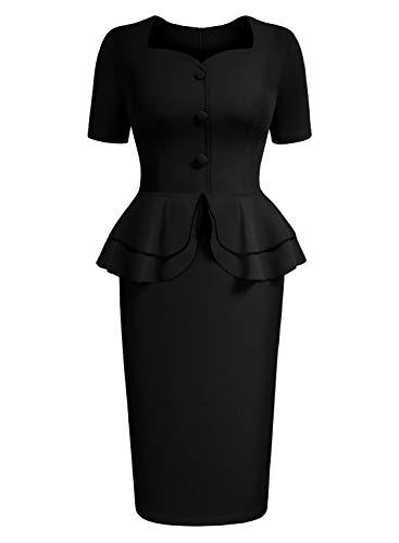 - AISIZE Women 1940s Vintage Sweetheart Ruffles Peplum Dress Small Black