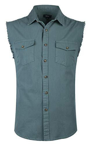NUTEXROL Mens Sleeveless Denim/Cotton Shirt Biker Vest 2 Front Pockets Steel Gray M