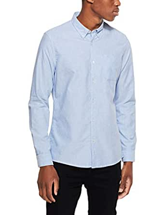 French Connection Men's Pale Blue L/S Custom FIT Shirt, Pale Blue Melange, Extra Small
