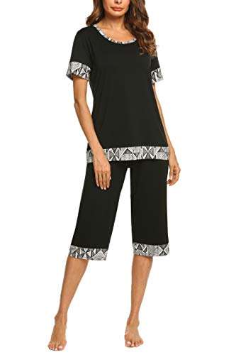 Print Pajama Top - Hotouch Women's O-Neck Sleepwear Short Sleeves Top with Capri Pants Pajama Set Black XL