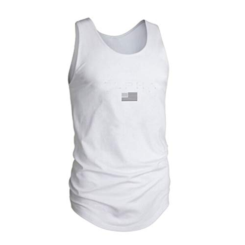 YOCheerful Men Tops Printed Sports Vest Striped Splice Large Open-Forked Male Loose Tank Tops(White, M)