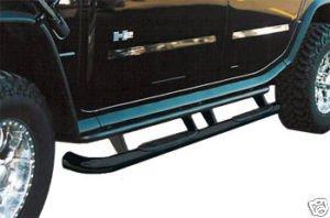 Hummer H2 Black Side Bars/Nerf Bars: 2003, 2004, 2005, 2006, 2007, 2008, 2009 (Hummer Side Steps)