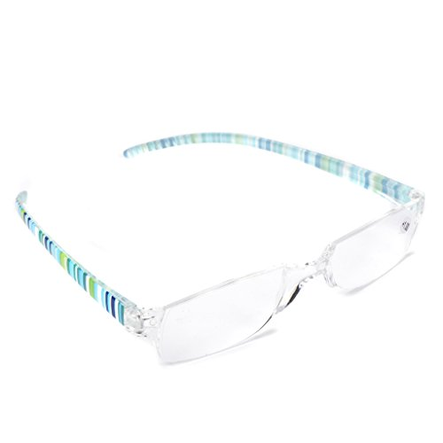 Misright Unisex Striped Reading Glasses Resin Clear Lens Presbyopia Eyeglasses +1.0~+4.0 (150)