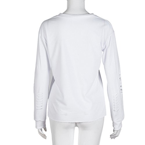 Ularma Sudadera mujer, Las letras impresas de cuello redondo blusa de cobertura blanco