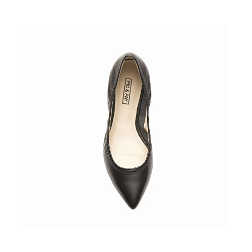 Pic / Payer Ana Womens Flats - Élastique Pointu Toe Ballet Plat Noir