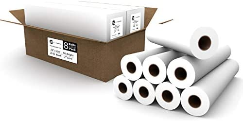 "8 ROLLS VALUE PACK. Plotter Paper 24 x 150, CAD Paper Rolls, 20 lb. Bond Paper on 2"" Core for CAD Printing on Wide Format Ink Jet Printers, from ACYPAPER"