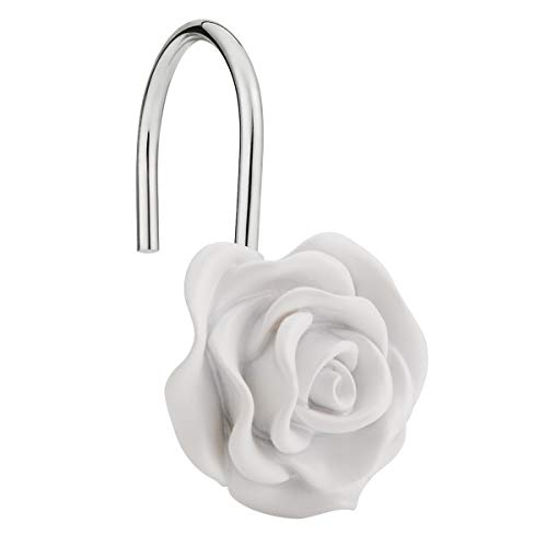 Amazer Shower Curtain Hooks Rings, Metal Decorative Resin Hooks Shower Curtain Rings for Bathroom Shower Rods Curtain and Liner, White Rose, 12 PCS