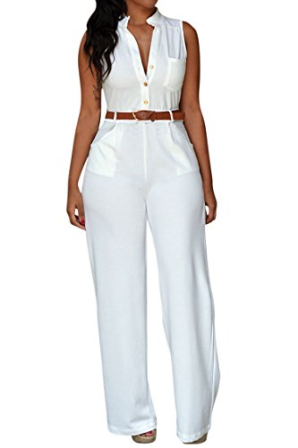 - Pink Queen Women's Jumpsuits White Sleeveless Loose Belted Jumpsuits Rompers XXL