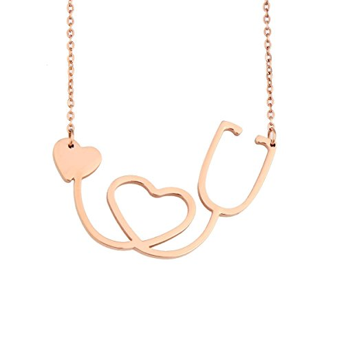 - ZUOBAO Medical Nurse or Doctor Stethoscope Heart Necklace (A Sethoscope Rose Gold)