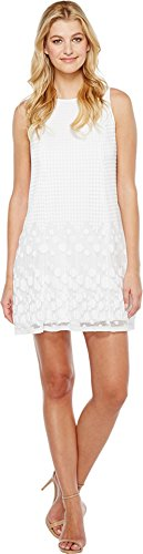 Adrianna Papell Women's Pleated Plaid Dot Trapeze Dress w...