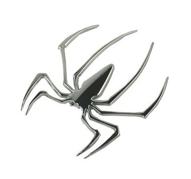 (1) 3D Spider Metal Style JDM Euro Cool Funny Car Decal or Sticker, Silver